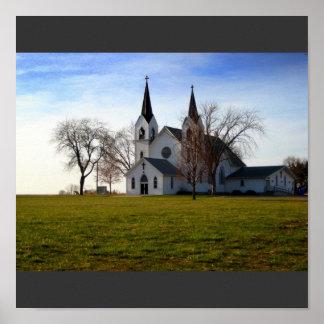 Rural Nebraska Church Poster