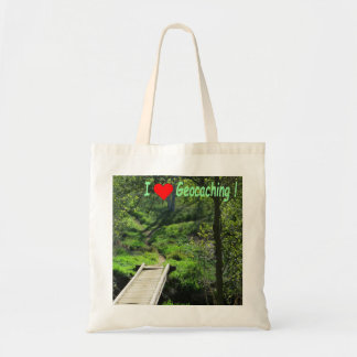 Rural path in the woods: Geocaching Tote Bag