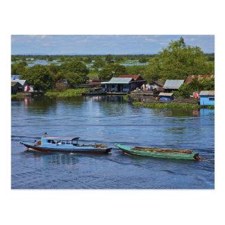 Rural scene, Tonle Sap Lake, Siem Reap, Angkor, Postcard