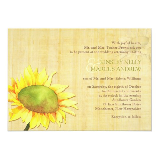 Rural Sunflowers + Papyrus Print Wedding Card