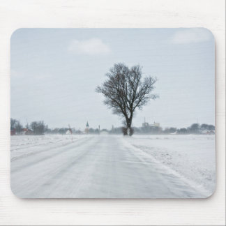 Rural winter road mouse pads