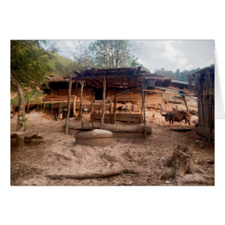 Rural Wooden Village Hut with Animals, Laos Card