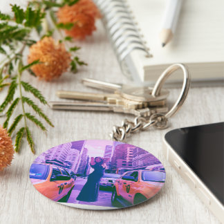 Rush Hour Basic Round Button Key Ring