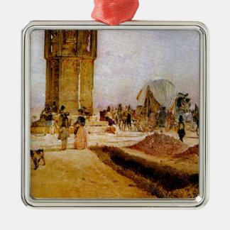 Rush hour traffic on the national road by Rudolf Silver-Colored Square Decoration