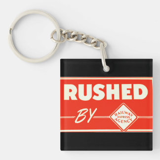 Rushed By Railway Express Agency Square Acrylic Keychains