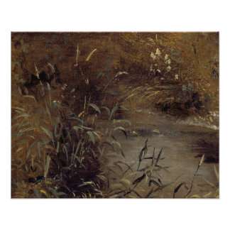 Rushes by a Pool, c.1821 (oil on paper on board) Poster