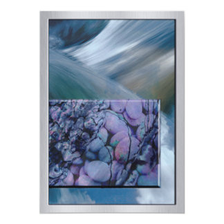 Rushing Water with Purple Stones 13 Cm X 18 Cm Invitation Card