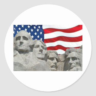 Rushmore / Flag Round Sticker