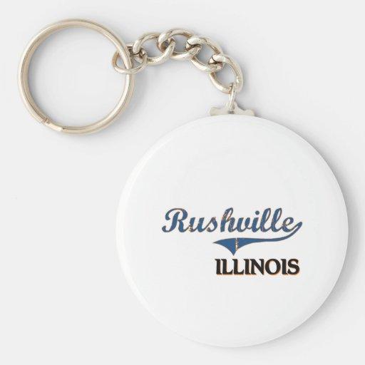 Rushville Illinois City Classic Basic Round Button Key Ring
