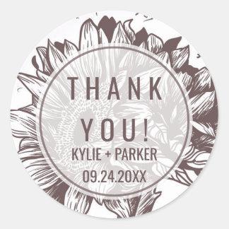 Rusic Sunflower Thank You Favor Round Sticker