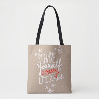 Rusric Merry Little Xmas Hand Lettered Holiday Tote Bag