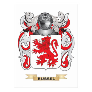 Russel Coat of Arms Family Crest Postcards
