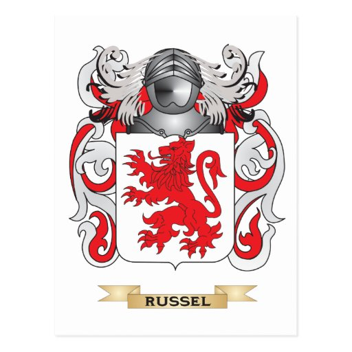 Russel Coat of Arms (Family Crest) Postcards