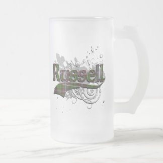 Russell Tartan Grunge Frosted Glass Beer Mug