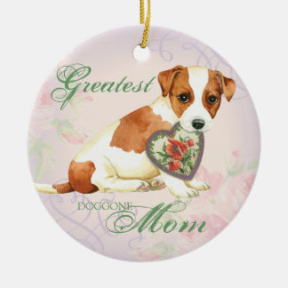 Russell Terrier Heart Mom Round Ceramic Decoration