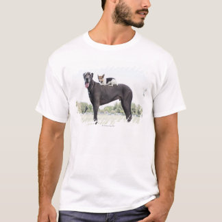Russell terrier on great dane's back T-Shirt