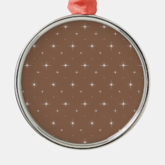 Russet Brown And Bright Stars Elegant Pattern Christmas Tree Ornaments