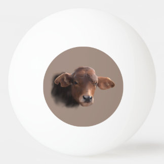 Russet Brown Cow Portrait Ping Pong Ball