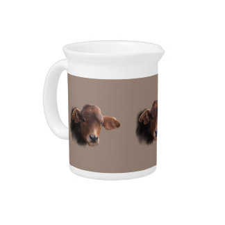 Russet Brown Cow Portrait Pitcher
