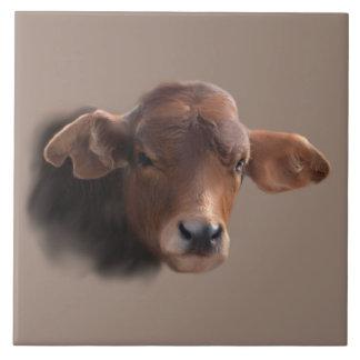 Russet Brown Cow Portrait Tile