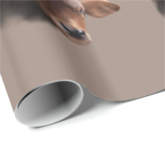 Russet Brown Cow Portrait Wrapping Paper