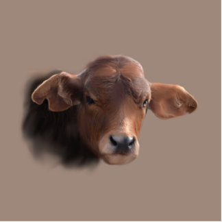 Russet Brown Cow PortraitP Photo Sculpture Badge