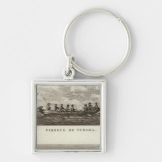 Russia 4 Silver-Colored square key ring