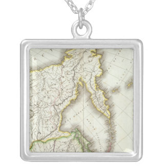 Russia and Asia Engraved Map Silver Plated Necklace