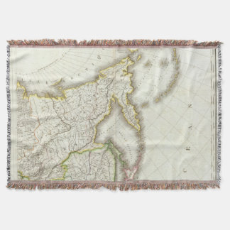 Russia and Asia Engraved Map Throw Blanket