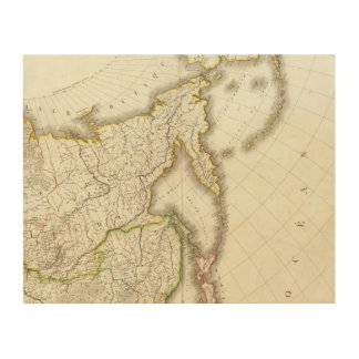 Russia and Asia Engraved Map Wood Print
