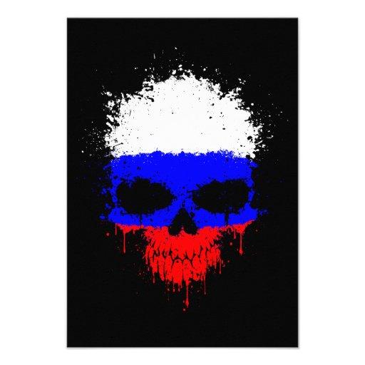 Russia Dripping Splatter Skull Invitations