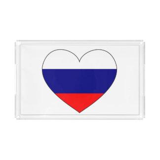 Russia Flag Heart Acrylic Tray