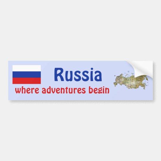 Russia Flag + Map Bumper Sticker