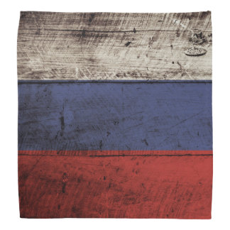 Russia Flag on Old Wood Grain Bandana