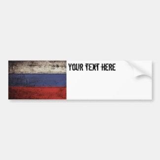 Russia Flag on Old Wood Grain Bumper Sticker