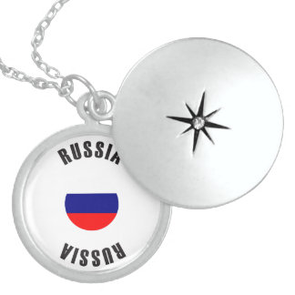 Russia Flag Wheel Locket Necklace
