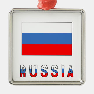 Russia Flag & Word Christmas Ornament