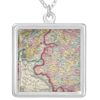 Russia In Europe, Sweden, And Norway Silver Plated Necklace