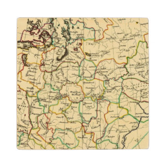 Russia in Europe with boundaries outlined Wood Coaster