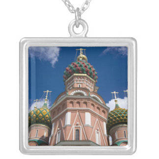 Russia, Moscow, Red Square. St. Basil's 2 Square Pendant Necklace