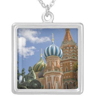 Russia, Moscow, Red Square. St. Basil's 3 Square Pendant Necklace