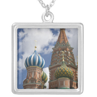 Russia, Moscow, Red Square. St. Basil's 4 Square Pendant Necklace