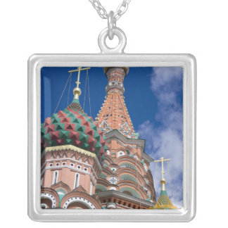 Russia, Moscow, Red Square. St. Basil's 5 Square Pendant Necklace