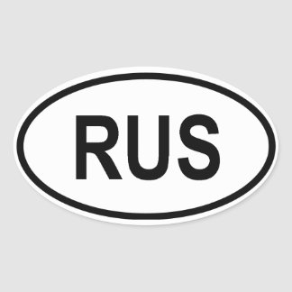 "Russia ""RUS"" Oval Sticker"