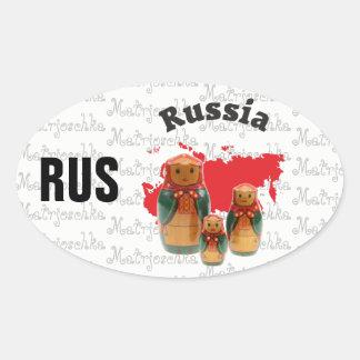 Russia - Russia adhesive Oval Sticker