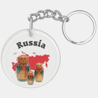 Russia - Russia babushka key supporter Double-Sided Round Acrylic Key Ring