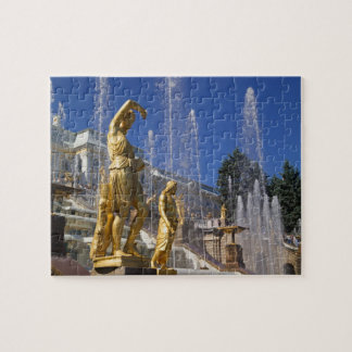Russia, St. Petersburg, Golden statues in the Jigsaw Puzzle