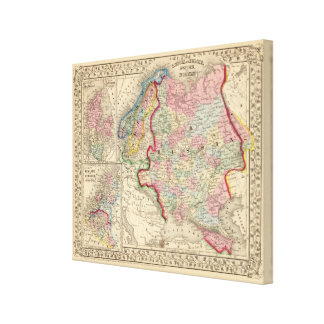 Russia, Sweden, Norway Map by Mitchell Canvas Print