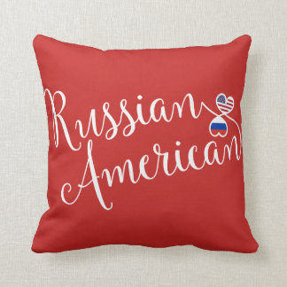 Russian American Entwined Hearts Throw Cushion