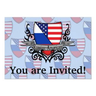 Russian-American Shield Flag 13 Cm X 18 Cm Invitation Card